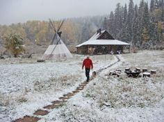 in my early 20s I knew a group who built and lived in a tipi and geodecic dome for a year...
