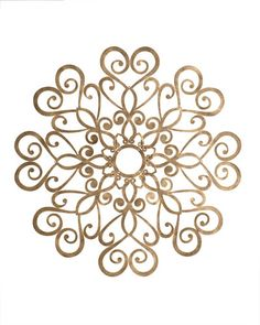 """Handcrafted ceiling medallion. Made of tole metal. Hand-painted light burnished-gold finish. 3"""" center hole for chandelier chain; eight screw holes for mounting to ceiling. 31""""Dia. x 0.125""""D. Imported"""