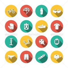 Set of flat helmet bike cycling sport hobby equipment biking icons white color long shadow on circles vector illustration. Editabl