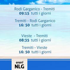 Ecco gli orari di alcune delle nostre tratte, per ulteriori informazioni ed aggiornamenti consultare il sito http://www.navlib.it/ita/index.asp