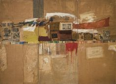 "Rebus  Robert Rauschenberg (American, 1925-2008)    1955. Oil, synthetic polymer paint, pencil, crayon, pastel, cut-and-pasted printed and painted papers, and fabric on canvas mounted and stapled to fabric, three panels, 8' x 10' 11 1/8"" (243.8 x 333.1 cm). Partial and promised gift of Jo Carole and Ronald S. Lauder and purchase. Art © Robert Rauschenberg/ Licensed by VAGA, New York, NY  243.2005.a-c"