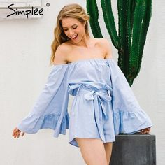 55e17c63b53 Sexy Off Shoulder Flare Sleeve Bow Ruffle Jumpsuit Romper