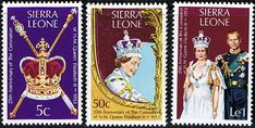 1978 Sierra Leone Coronation 25th Anniversary Set Fine Mint SG 601 3 Scott 444 6 Condition Fine MNH Only one post charge applied on multipule