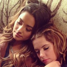 Shay Mitchell (Emily) and Ashley Benson (Hanna) on the set of Pretty Little Liars. #PLL