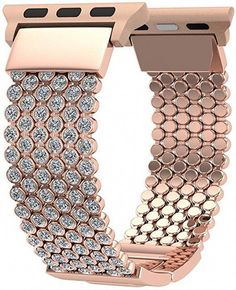 FresherAcc Compatible with Apple Watch Band iWatch Bands Series 4 3 2 1 Women Girls, Crystal Rhinestone Replacement Strap, Mesh Chain Jewelry Wristband Rose Gold) Apple Watch Bracelets, Apple Watch Bands 42mm, Iphone Watch Bands, Apple Watch Accessories, Thing 1, Metal Bracelets, Crystal Rhinestone, Bling, Dreams