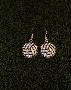 Rhinestone Volleyball Dangle Earrings