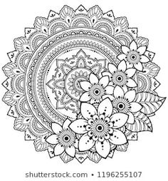 Circular pattern in form of mandala with flower for Henna, Mehndi, tattoo, decoration. Decorative ornament in ethnic oriental style. Coloring book page. Free Adult Coloring Pages, Mandala Coloring Pages, Coloring Book Pages, Mandala Art Lesson, Mandala Drawing, Madhubani Art, Madhubani Painting, Henna Drawings, Pop Art Wallpaper
