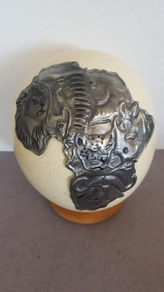 Buy Big 5 wild animals, Africa, Handcrafted Pewter Art on Ostrich egg for Pewter Art, Zinn, Big 5, Family Crest, Objects, Crests, Wild Animals, Metal, Eggs
