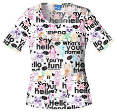 Hospital Critterz Say Hello V-Neck Scrub Top Buy Scrubs, Hello Design, Cherokee Woman, Uniform Advantage, Cherokee Scrubs, Professional Wardrobe, Medical Scrubs, Scrub Tops, Princess Seam