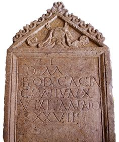 A photo of a brown tombstone with a roman inscription on it
