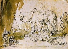 Rembrandt Harmensz. van Rijn 1606 � 1669     The Good Samaritan Tends the Wounded Man