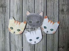 {Cat pin} each hand drawn + original! cuteness!