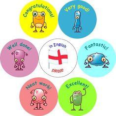 Lot de 490 stickers d'encouragement en anglais pour l'école ou l'IEF