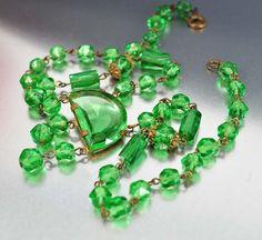 Green Glass Art Deco Necklace Signed Czech Vintage Art by boylerpf, $110.00