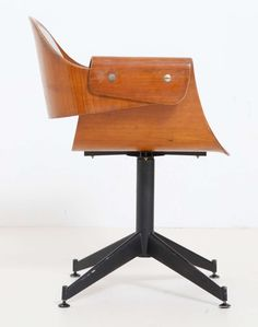 Carlo Ratti Attributed; Molded Plywood and Enameled Metal Desk Chair, 1950s.