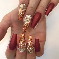 Gold Nail Designs, Fall Nail Art Designs, Nails Design, Gorgeous Nails, Pretty Nails, Stars Nails, Cute Nails For Fall, Fall Acrylic Nails, Autumn Nails