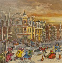 Rues de Montréal avec son coucher de soleil où les enfants s'amusent avant un bon repas chaud. Toile de grandeur 24x24 de la peintre Pauline Paquin