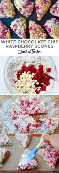 White Chocolate Chip Raspberry Scones | recipe via http://justataste.com | #recipe #breakfast #brunch