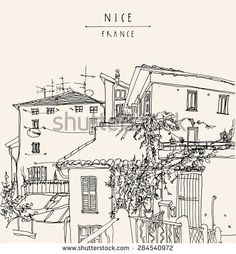 Artistic hand drawn illustration of residential houses with shutters and trees in the old town of Nice, French Riviera (Cote d'Azure), France, Europe. Postcard poster greeting card template