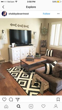 Rug and tv stand #livingroomdesignsbrown