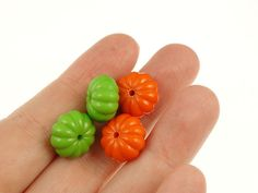 12 Orange Pumpkin Beads 15mm x 9mm Acrylic Beads by LythaStudios