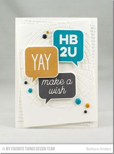 Birthday Speech Bubbles Stamp Set and Die-namics, Happy Birthday Background, Concentric Circle Grid Stencil - Barbara Anders  #mftstamps
