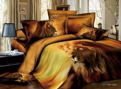 3D Animal Print Male lion Manly Bedding Set Full/Queen,100% Cotton Comforter Sets,Duvet Cover Bed sheets Bedclothes Bed in a bag