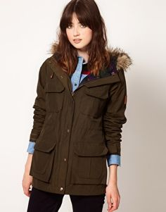 Penfield Kasson Faux Fur Hood Anorak With Check Lining