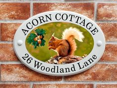 Ceramic Style house plaque with a red squirrel and acorns design created from original artwork. This house plate is made from solid cultured marble and is designed to give the loo. House Plaques, Cottage Signs, House Names, House Signs, Red Squirrel, Ceramic Houses, Sign Printing, Print Pictures, Fashion Pictures