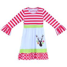 New Arrival Toddler Girls Christmas Dress Full Sleeves Dress With Embroidery Reindeer Boutique Children Fall Clothing CD003(China (Mainland))