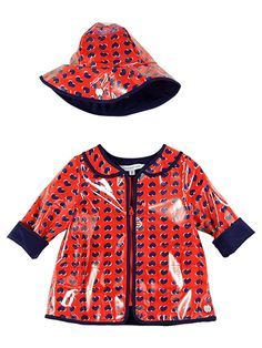 #coat #raincoat #spots #red #plastic #cute #girl #spring #raingear