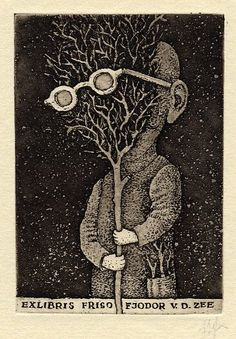 Exlibris of Friso Fjodor v.d. Zee | man and tree with glasses #bookplate