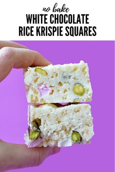 These White Chocolate Rice Krispie Squares are AMAZING! You only need 5 ingredients and 10 minutes to make these! Recipe from sweetestmenu.com #whitechocolate #ricekrispies #dessert