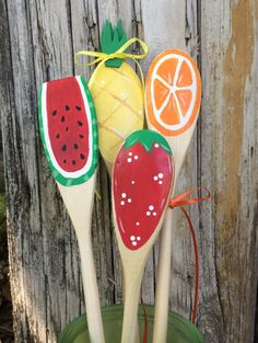 Wooden Summer Kitchen Spoons, Strawberry, Watermelon, Pineapple, Orange Slice, Hand Painted Decorations or Hostess Gift, Summer Decor, by CurvesandEdges on Etsy