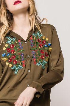 Asymetrická kaki košeľa s kvetinovým vzorom - ROUZIT. Brooch, Fashion, Moda, Fashion Styles, Brooches, Fashion Illustrations