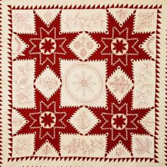 Quilts Inc. Collection.  Turkey red star with red work embroidery. After 1880.