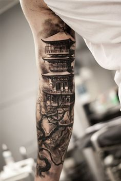 Cool Chinese Pagoda Tattoo Ideas for men arm 99