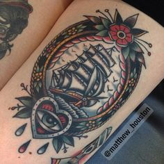 Traditional Ship In Frame Tattoo Design