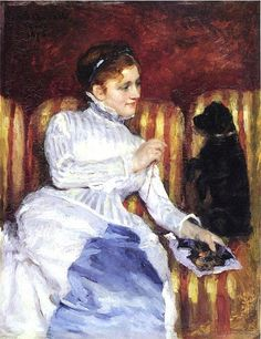 Mary Cassatt (1844-1926) Woman On A Striped With A Dog or Young Woman On A Striped Sofa With Her Dog
