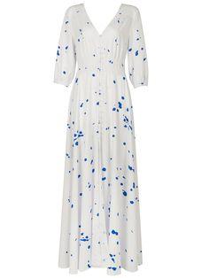 White V-neck Splash Print Empire Maxi Dress | Choies