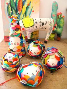 Felt magic rainbow ball decoration fun character colours