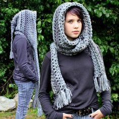 Hood scarf cowl shawl Grey by HookedWear on Etsy