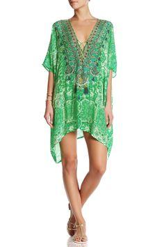 Green Geometric Printed Lace Up Kaftan Dress