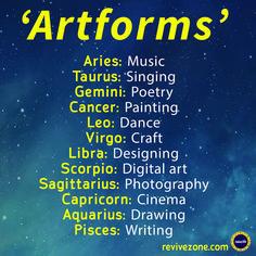 artforms, zodiac signs, aries, taurus, gemini, cancer, leo, virgo, libra, scorpio, sagittarius, capricorn, aquarius, pisces