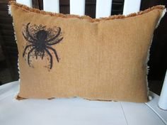 Halloween pillow, halloween, fall pillow, spiders, shabby chic, farmhouse decor, decorative pillow, cottage decor