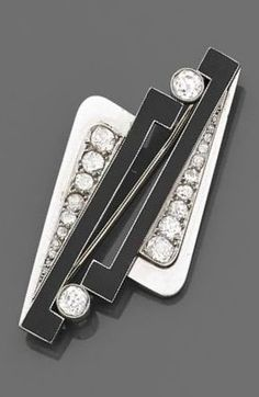 A rare Art Deco gold, platinum, lacquer and diamond brooch, by Raymond Templier. Of geometric design, set with brilliant-cut diamonds, mounted in platinum and white gold decorated with black lacquer. Signed Raymond TEMPLIER. #ArtDeco #Templier #brooch