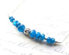 Blue Appetite Gemstone Necklace  Apatite Bar by JemsbyJBandCompany