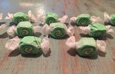 Moana Heart of Ta Fiti green taffy candy swirled wrappers for piñata!