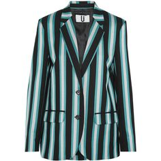 Topshop Unique Beale striped satin-twill blazer ($475) ❤ liked on Polyvore featuring outerwear, jackets, blazers, turquoise, satin blazer jacket, stripe blazer, topshop unique, two button blazer and stripe jacket
