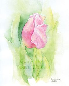 Watercolor Tulip Easter Card by SusanWindsor on Etsy